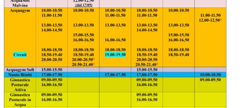 Ecco l'anteprima dei nuovi orari in acqua!!!